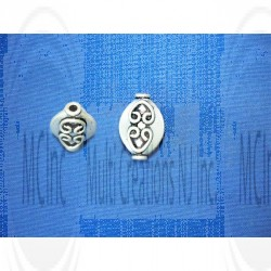 B-1064 : Bali Silver Beads : Flat Oval Shape Beads : 13x9 mm / 8