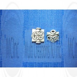 B-1070 : Bali Silver Beads :  Square Shape Beads : 10 mm / 8
