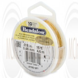Beadalon 19 Strand Wire : 0.018 inch/0.46 mm (Gold Color) : 15 Feet