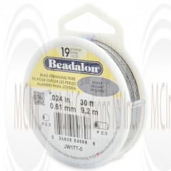 Beadalon 19 Strand Wire : 0.024 inch/0.61 mm (Bright) : 30 Feet