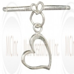 TL105 : Bali Silver Heart Toggle : 15 mm