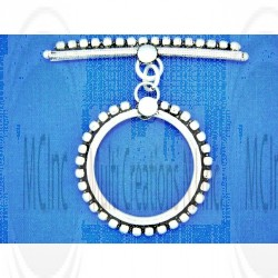 TL210 : Bali Silver Light Weight Beaded Toggle in Square Pipe : 34 mm
