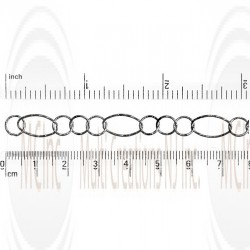 Oxidized Diamond Cut Oval Link Chain : 13.3x7.3 mm  with 3 links of  6.85 mm