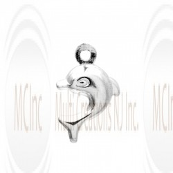 CM102 : Sterling Silver Dolphin Charm - 9 mm