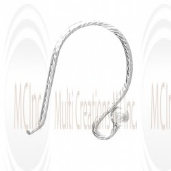 EWDS6 : Sterling Silver Diamond Cut Ball end Ear Wires - 14 mm