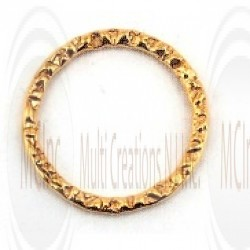 Gold Filled Links : Round Flat Textured 15 mm