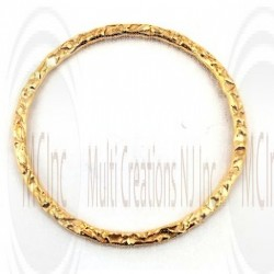 Gold Filled Links : Round Flat Textured 25 mm